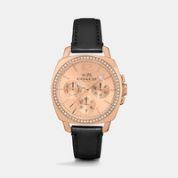 BOYFRIENDsmall rose gold plated crystal strap watch