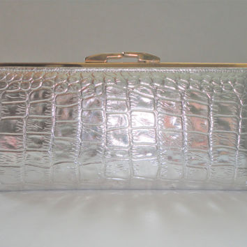 MOD Silver Leather Clutch, Metallic Silver Clutch Wallet, Moc Croc Clutch, 1960s Metallic Clutch, ROLFS Ladies Clutch Wallet, Vintage