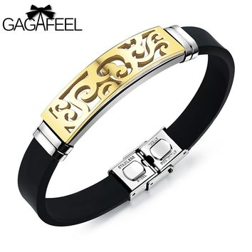 GAGAFEEL Rubber Bracelet For Men Punk Carved Jewelry Silicone Stainless Steel Bangles Silver Gold Color Wristband 200 mm Chain