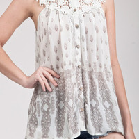 Sleeveless Print Top With Crochet Neckline