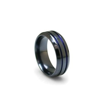 Black Titanium Domed Band Ring with Blue Anodized Grooves