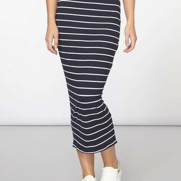 Navy Stripe Rib Tube skirt - Skirts - Clothing