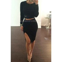 BLACK Nia Slit Buckle Outfit - Jaide Clothing