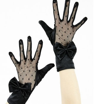 Gothic Wedding Black satin polka dot sheert lace and Bow accent Gloves