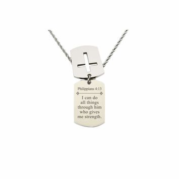 Mens Scripture Double Tag Necklace - Philippians 4:13