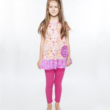 Jelly the Pug Pink Unicorn Shelby Tunic & Leggings Set Size:14