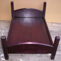 handcrafted American Girl doll size bed dark stain