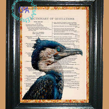 Posing Bright Blue Heron Art - - Vintage Dictionary Book Page Art-Upcycled Page Art,Wall Art,Collage Art, Water Bird Art,