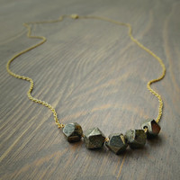 Pyrite nugget gold necklace, dainty necklace, minimalist, every day necklace, gift for her.
