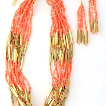 Coral Multi-Strand Necklace Set