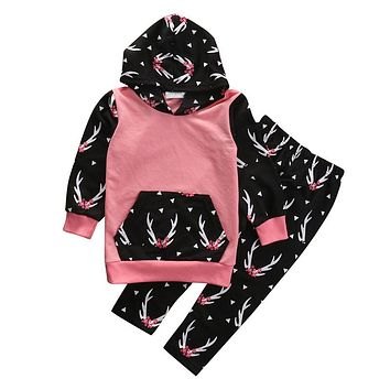 2PCS Toddler Kids Baby Girl Clothes Sets Cute Deer Hooded Sweatshirt Top Pant New Outfit Fashion Children Clothing Set