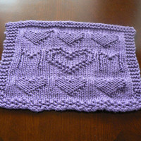 Hand Knitted Amethyst Mom With Hearts Dish Cloth or Wash Cloth