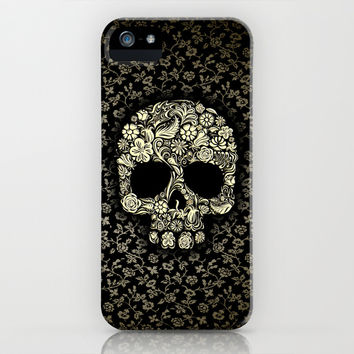 Sugar Skull flower pattern iPhone 4 4s 5 5s 5c, ipod, ipad, pillow case and tshirt iPhone & iPod Case by Three Second
