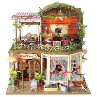 Limited Edition Miniature Wooden Coffee Shop Music Box w/ Lights Dollhouse Model Kit