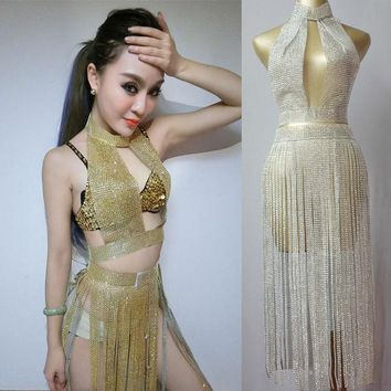 PEAPUNT Female Singer Sexy Pole Dance Clothing Outfit  Sparking Paillette Tassel Set