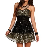 Black/Gold Sequin Colorblock Dress