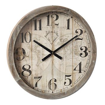 Three Hands Vintage Map of the World Wood Wall Clock -- 30-in