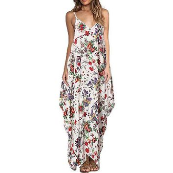 2017 Bohemian Summer Floral Print Long Dress Women Sexy V neck Strap Backless Beach Maxi Dresses Plus Size New Vestido de festa
