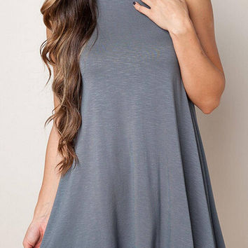 Grey Sleeveless A-line Mini Dress with Turtle Neck