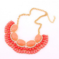 Coral Statement Necklace, Jcrew Inpired Bib Jewelry,Free Gift Box Packaging Available