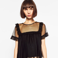 FRILLED TULLE TOP