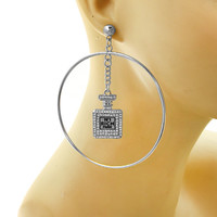 "Silver ""N1 Rich Paris Hoop"" Link Chain Post Metal Statement Chunky Earrings"