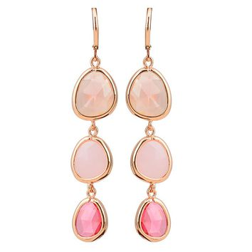 NEW!!  Lovely Colorful Crystal Resin Stones Dangle Earrings.   Available in Pink, Blue, Gray and Green.   ***FREE SHIPPING***