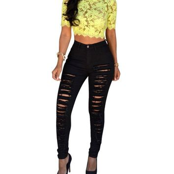 Women Sexy Denim Skinny Pants High Waist Jeans Leggings Trousers With Ripped Hole Cut-Out L4
