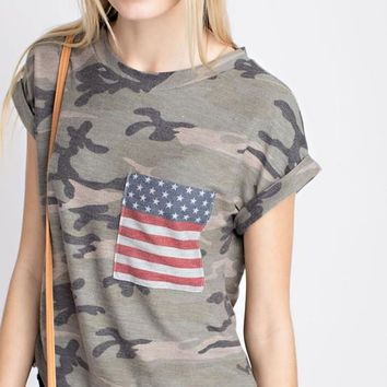 Vintage American Flag Camo Short Sleeve Top