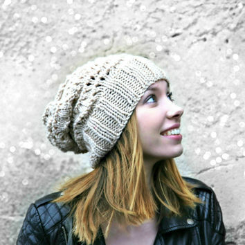 Fawn Beige Hand Knitted Winter Hat - Knitted Lace Hat - Vegan Hat - Women's Hat - Teen Girl Hat