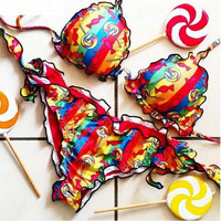 Colorful Strappy Self-tie Triangle Bikini