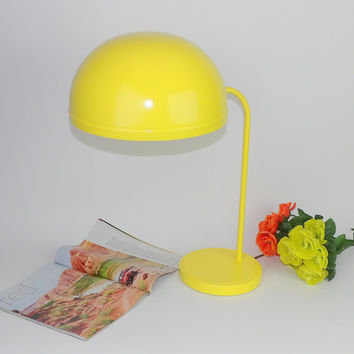 Desk Lamp Light Mid Century Modern Globe Yellow Industrial Steel Table Lamp Tanker Desk Adjustable Office Lighting Metal Shade Nightstand