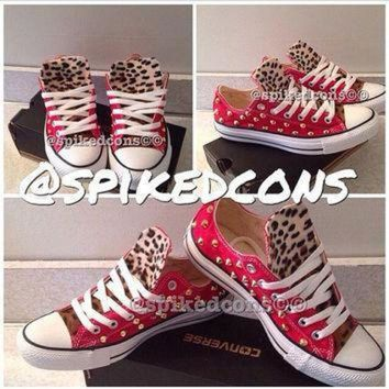 QIYIF leopard and gold spike studded converse