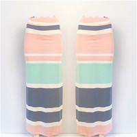Multi Color Striped Maxi Skirt