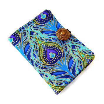 Peacock Plumes Tea Wallet - Tea Bag Wallet Peacock Blue Bronze Purple Feather