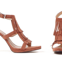 Brown Fringe High Heel Adult Shoes - Clearance Sizes