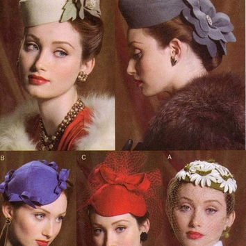 5 Vintage Hats sewing pattern 40s 50s style hats Vogue 8008 one size Hat patterns