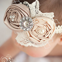 Newborn headband...Baby Headband.....Vintage inspired Hair bow in Ivory and Champagne.....girls....teenager...and women