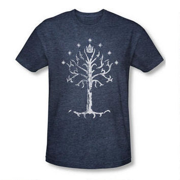 Lord of the Rings Tree of Gondor Adult Premium Indigo Heather T-Shirt | WBshop.com