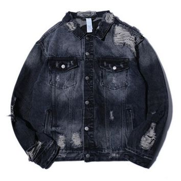 JIN JUE LES Men Denim Jacket Justin Bieber Retro Wash Water Distrressed Jeans Jacket Kanye West Style Jackets Coat Jeans
