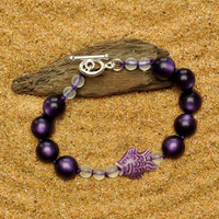 Colorful Lightweight Royal Purple Tropical Bracelet with Hand Painted Lavender Peruvian Fish and Bubbles
