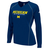 The M Den - Adidas University of Michigan Ladies Navy Long Sleeve Sideli