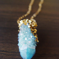 Spirit Quartz Druzy Gold Dipped Necklace