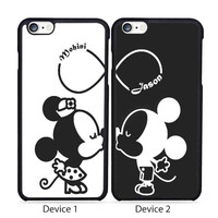 Personalized Name Mickey and Minnie Mouse Gift Set, Matching Phone Case iPhone 4/4S, 5/5S, 5C Series, iPhone 6, 6+ case - Hard Plastic, Rubber Case
