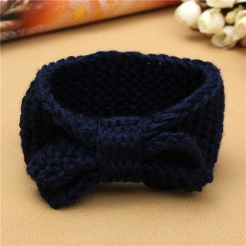 Winter Babys Ear Warmer Headwrap Girls' Crochet Headband Knit Bow Hairband