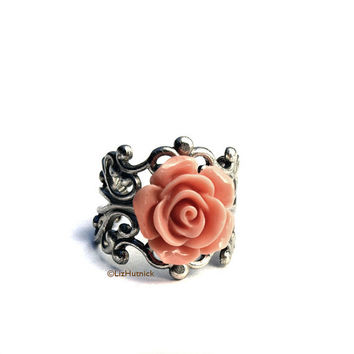 Dusty Rose Ring. Adjustable Ring. Cocktail Ring. Spring Pink Rose Ring