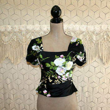 Silk Cocktail Blouse Formal Evening Dressy Top Black Floral Small Ruched Beaded Satin Chiffon Square Neck Cropped Womens Vintage Clothing
