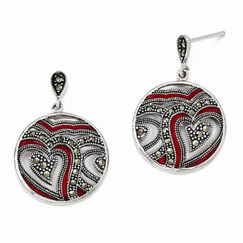 Sterling Silver Marcasite & Red Epoxy Heart Dangle Post Earrings