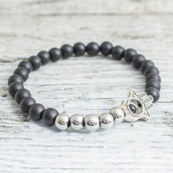 Matte black onyx beaded silver Hamsa hand stretchy bracelet, made to order yoga bracelet,  mens bracelet, womens bracelet