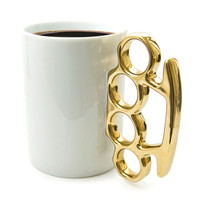 Thabto: Knuckle Duster MUG! Gold-Tone, at 14% off!